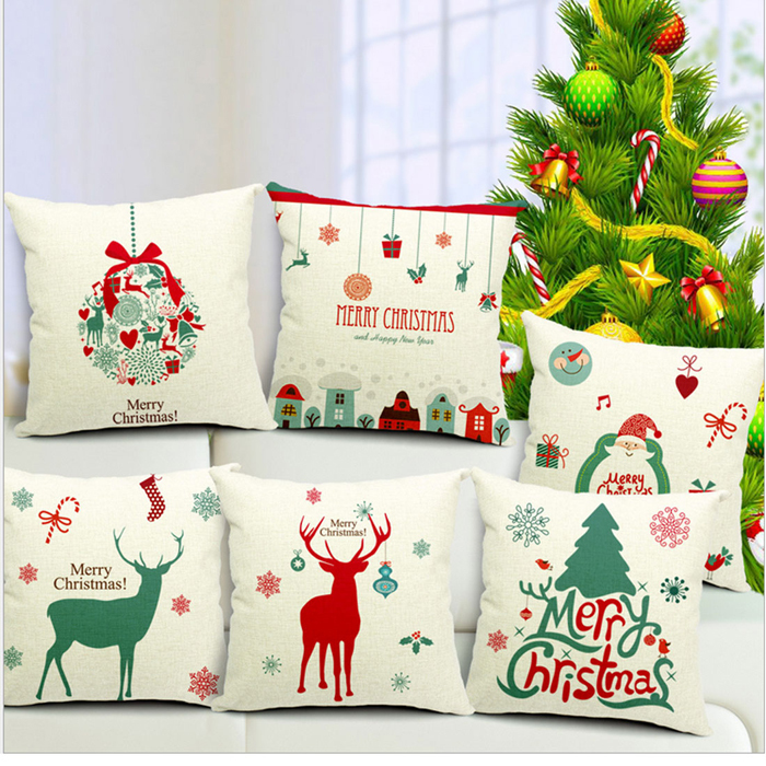 New Year Xmas Home Decor Cotton Cushion Cover Throw Sofa