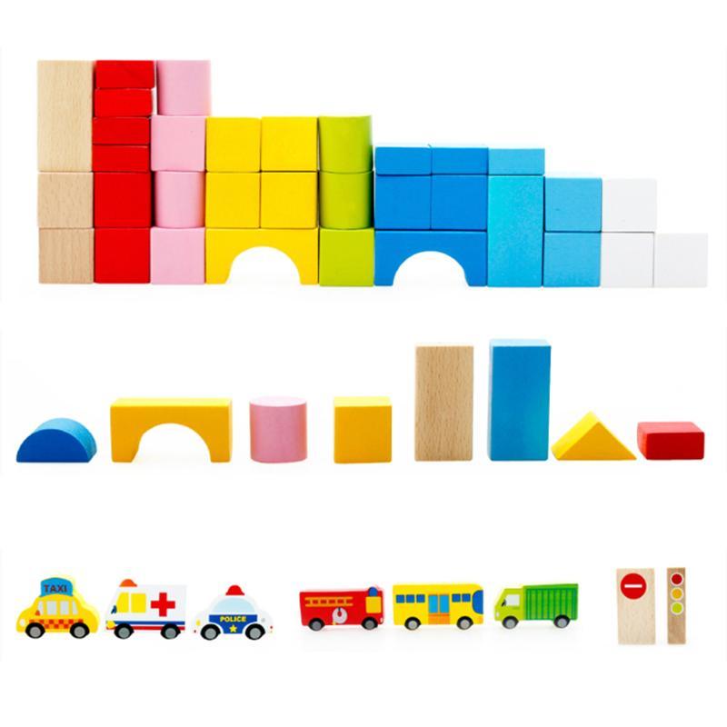 62pcs/Set Children Cartoon Images Learning Wood Education Toys Cartoon Images City Traffic Scene Wooden Building Blocks Child