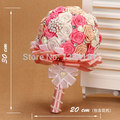 Hand Made Top Quality Beaded Brooch Silk Bride Bridal Wedding Bouquet Bridesmaid  Europe Us Rose Pearl Artificial Flower Sp8535