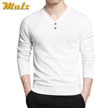 Men Sweaters Pullovers V-Neck Cotton Polo-Shirts Long-Sleeve Knitted Brand-New Autumn