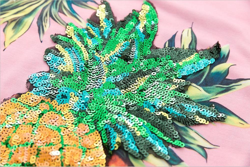 HTB1mdvRQVXXXXXOXFXXq6xXFXXXt - Top Hot Sequined Print Pineapple Women t shirt Short Sleeve