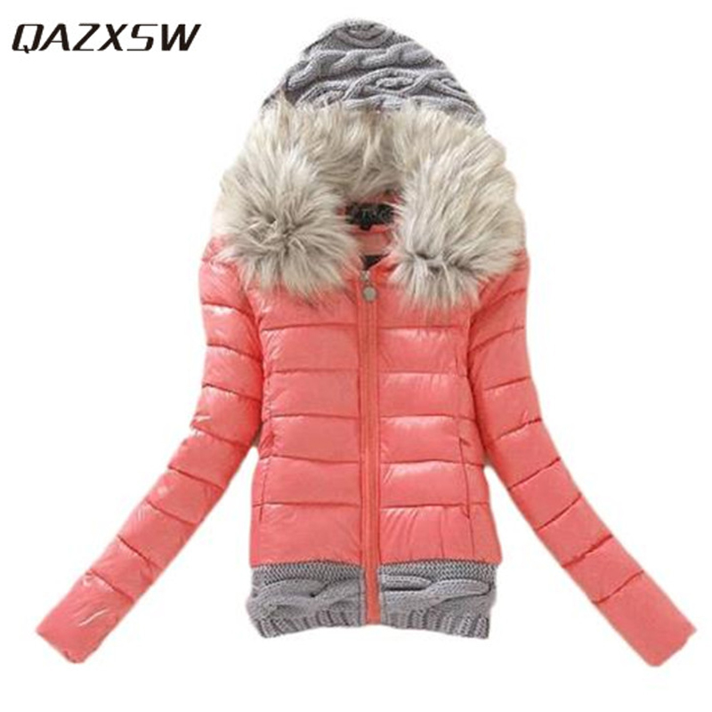 QAZXSW New Women Winter Jacket Hooded Cotton Coat Thick Knitted Patchwork Parkas Fur Collar Abrigos Mujer