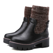 Hot Sale 2016 Winter Warm Comfortable Black Short Boots Women Boots Thick Bottom Woolen and PU Leather Boots