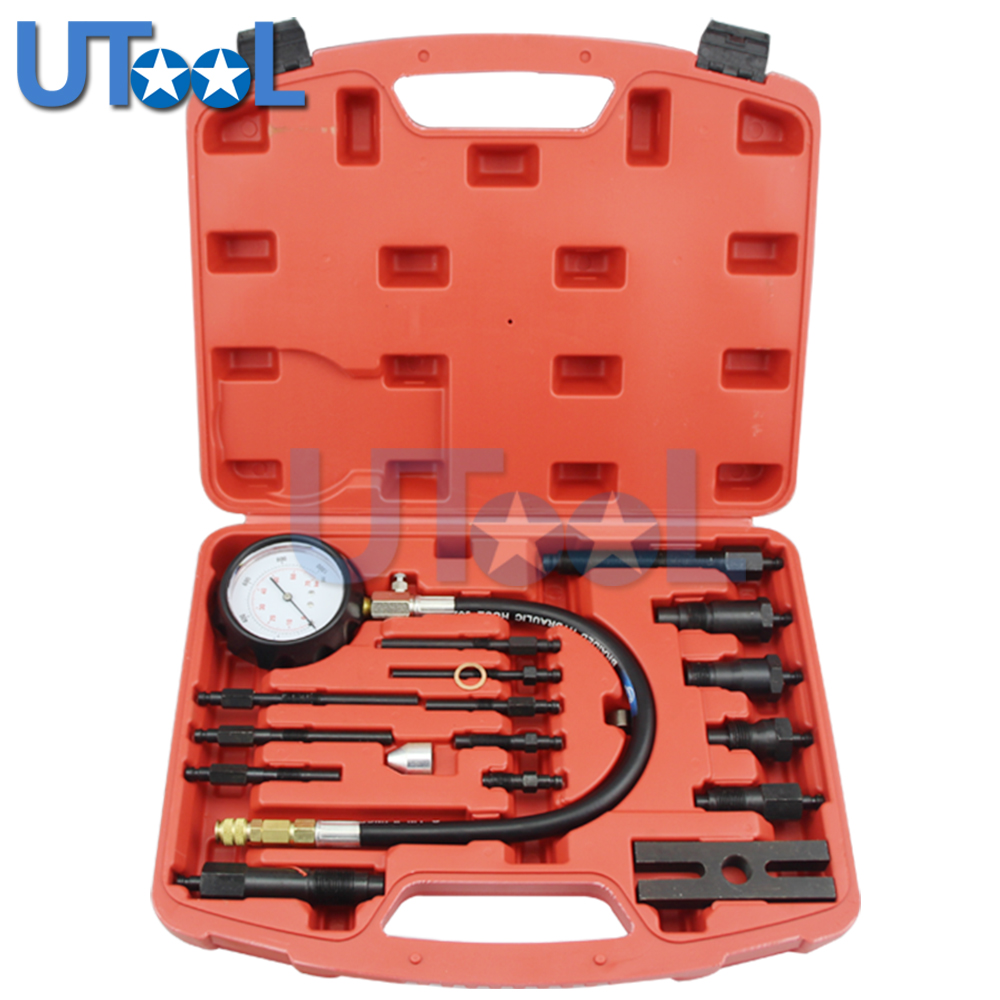UTOOL TU-15B Professional Diesel Engine Compression Tester of Engine Pressure Gauge automotive tools tu 15a diesel engine compression tester kit engine pressure gauge 0 1000psi