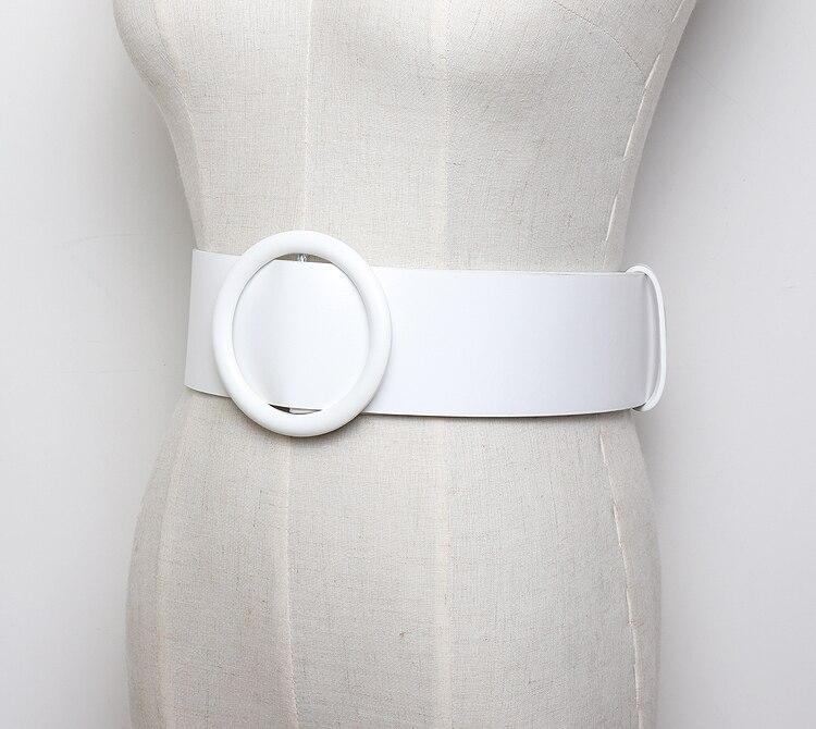 Nouvelle ceinture de femme en cuir blanc large femme boucle ronde ceintures  cool pour les femmes sangle Top qualité pour femme ceinture de jeans  Féminine 315db29aa28