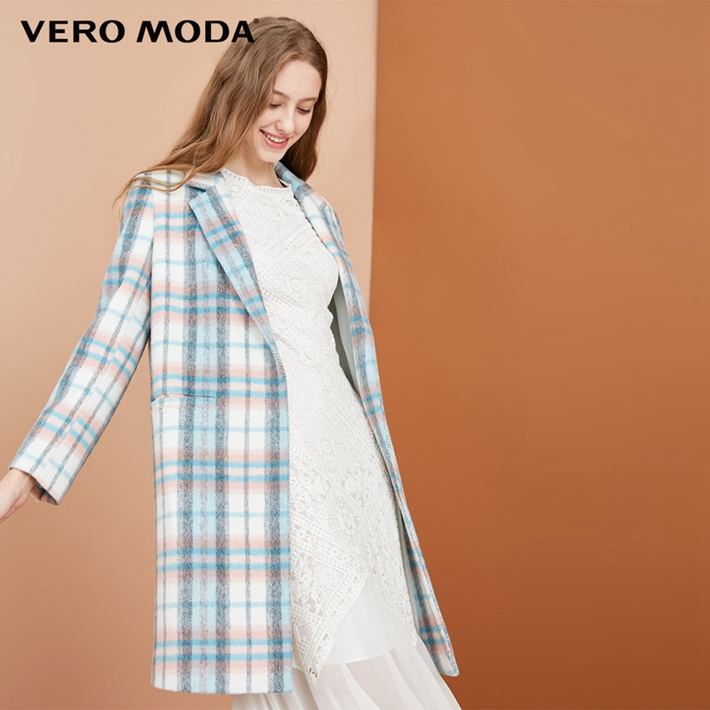 Vero Moda 50 wool plaid decorative pocket coat wool coat 318327515