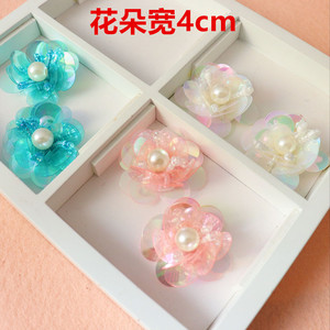 10pieces Sequin Patches Beaded Cloth Flowers DIY Clothing Accessories Sweater Decorated 3D Flower Patch for Bags Sock Shoes