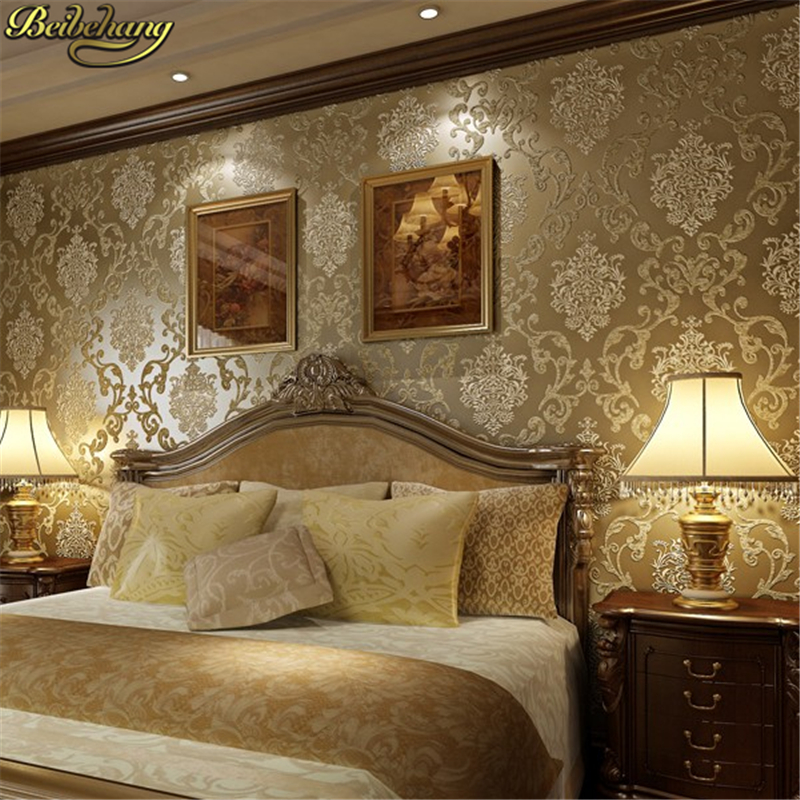 Beibehang Papel De Parede 3D Vintage European Damask Wallpaper For Walls 3 D Luxury Embossed Wall Papers Home Decor Living Room