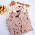 19 Cores de Verão Outono Mulheres Blusas Turn Down Collar Cópia Floral de Algodão Camisas Longas Da Luva Das Mulheres Camisas Femininas Mulheres Tops