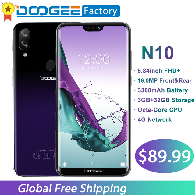 DOOGEE N10 Octa-Core 3 GB RAM 32 GB ROM teléfono móvil 5,84 pulgadas FHD + 19:9 Smartphone 16MP 3360 mAh Cámara Android 8,1 4G LTE teléfono móvil
