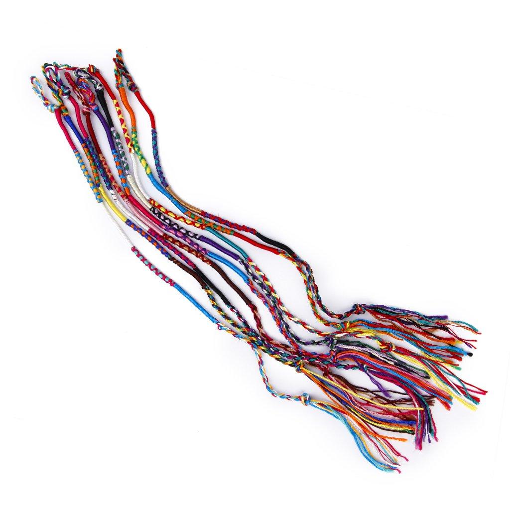 9 colorful thread friendship bracelets woven Hippie