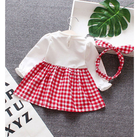 Spring Baby girls clothes overalls dress Headband for newborn babies 1st birthday baby dresses girls long sleeve clothing dress Lahore
