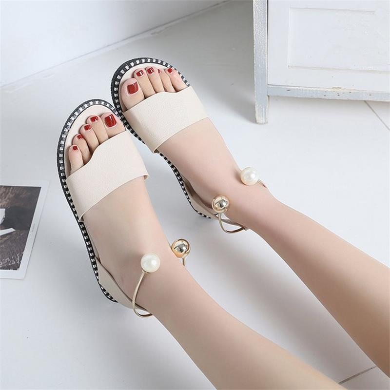 Ladies Solid Metal Decoration Footwear