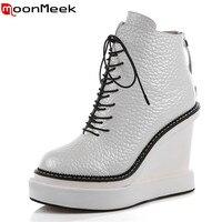 MoonMeek dulce sólido estilo lace up mujeres botines en punta redonda de cuero genuino zapatos de fiesta con cuñas de los altos talones