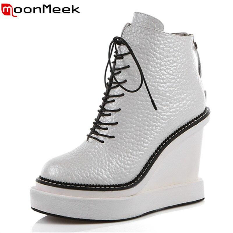 MoonMeek style doux dentelle solide jusqu'à femmes cheville bottes en cuir véritable bout rond chaussures de soirée avec coins talons hauts