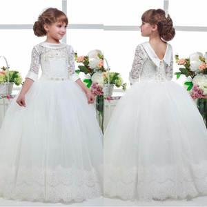 4f668361ffc Three Quarter Sleeves Flower Girls White Gown Dress