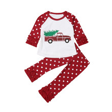 Kids Baby Tops Ruffles Pants Clothes Outfits Xmas Set