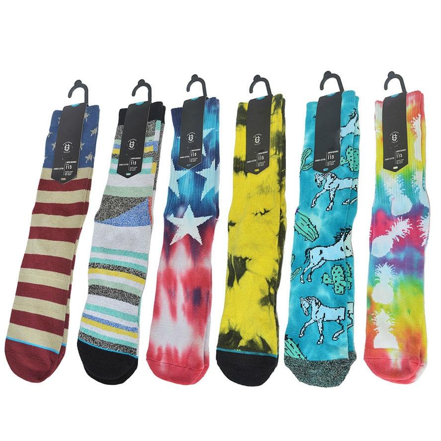 Socks Sport Sock American Flag Strip Basketball Socks Men Hip Hop Tie Dye Compression Cycling Skateboard Hiking Skiing Sock Knee