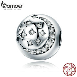 BAMOER High Quality 925 Sterling Silver Moon & Star Stopper Sparkling CZ Beads fit Women Charm Bracelet DIY Jewelry SCC813