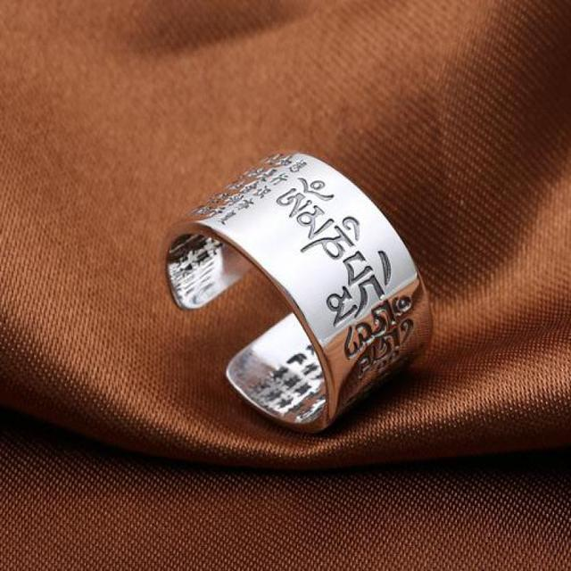 Solid 999 Sterling Silver Sanskrit Buddhist Mantra Rings 1