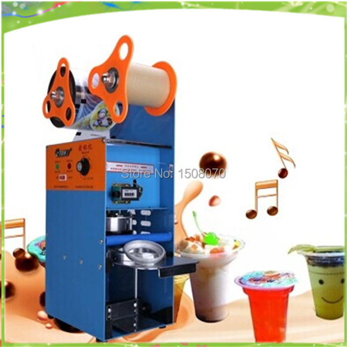 free shipping stainless steel automatic cup sealing machine, plastic cup sealing machine, pearl milk tea cup sealing machine  цены