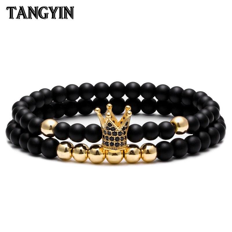Breloque couronne Bracelet Couple bracelets pour femme bijoux 6mm Nature pierre Micro-incrusté zircon or argent hommes Bracelet Homme cadeau