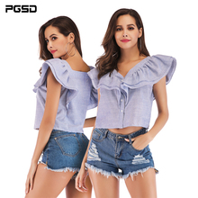 PGSD New Summer Fashion women clothes Sleeveless blue white striped V-collar Button Laminated Lotus Edge Shirt female Cardigan