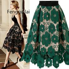 Women Fashion Summer maxi long high waist Skirt Lace Flower Print skirts Beach Party Elegant Midi Skirt Female цена