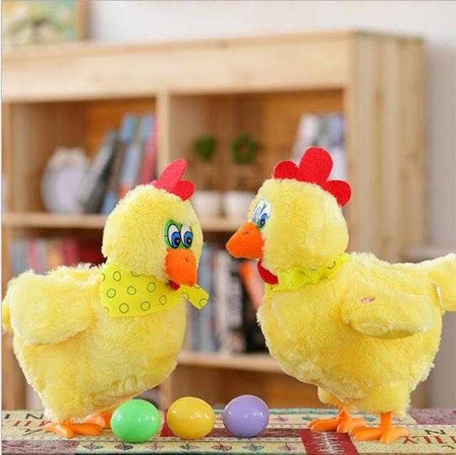 1 piezas 30 cm divertido muñeca pollo crudo gallinas pondrán huevos de gallinas loco cantar y bailar eléctrico pet juguetes de peluche regalos para los niños