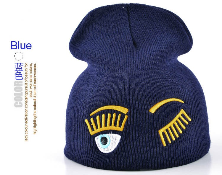 2017 new winter hats for woman striped solid caps girl Knit cap woman eye lashes facial expression beanies gorro 13