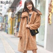 Nagodo Winter Rabbit Fur Coat 2018 Casual Thicken Warm Pink Long Faux Fur Coats Women Loose Oversized Plush Coat Furry Jacket