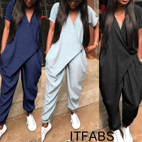 2019 New Casual Fashion Women Short Sleeve V Neck Loose Clubwear Playsuit Party Jumpsuit Romper Trousers Pants