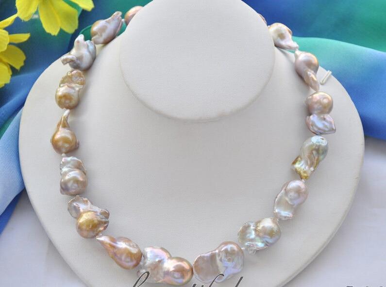 30mm lavender baroque keshi reborn freshwater pearl necklace 18inch