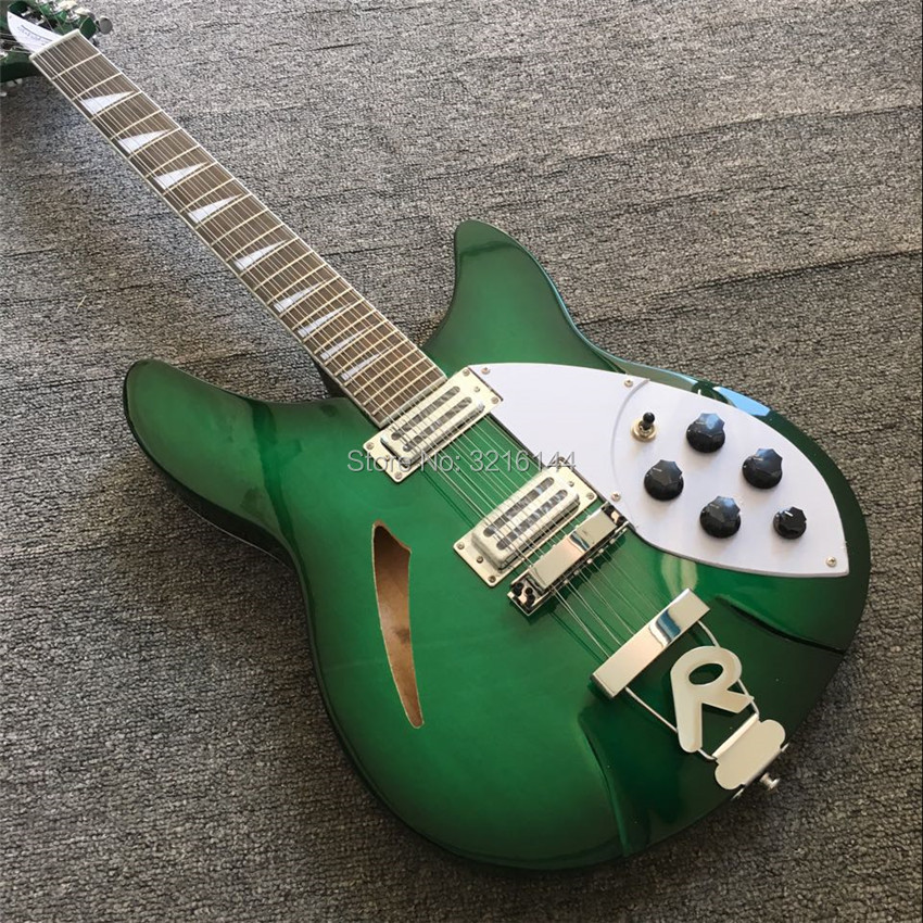 green Semi Hollow body Rick <font><b>360</b></font> Electric <font><b>guitar</b></font> 12 strings <font><b>guitar</b></font> in Cherry burst color, All Color are available, Wholesale image