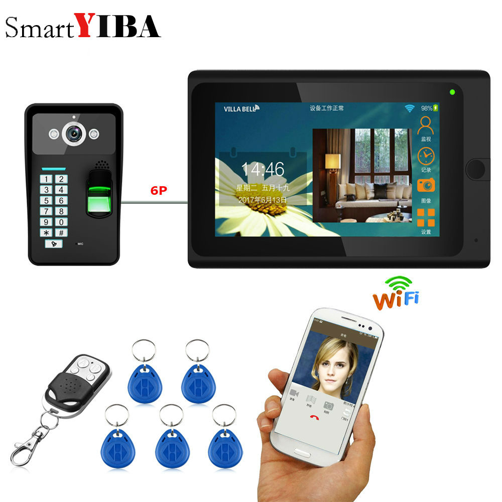 SmartYIBA 7inch Wired / Wireless Wifi Fingerprint RFID Password Video Door Phone Doorbell Intercom Entry System with Wired Cam smartyiba 7inch 7inch wired wireless wifi rfid password video door phone doorbell intercom with ir cut 1000tvl camera