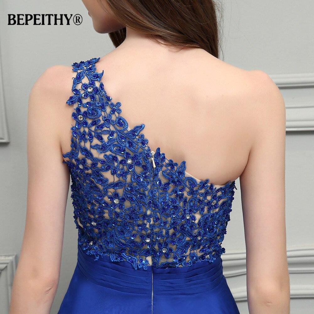 BEPEITHY Royal bleu mousseline De soie longues robes De bal 2019 une épaule dentelle Vintage robe De soirée Vestidos De Festa - 6