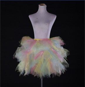Image 3 - Tulle Petticoat ชุดสาวสี Underskirts สั้น Tutu Crinolina Fluffy เวทีเต้นรำกระโปรง Jupon
