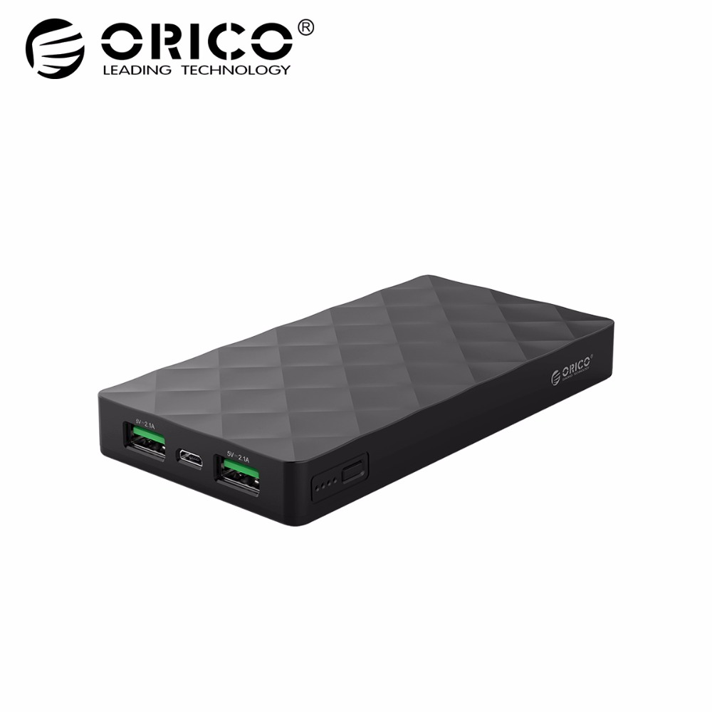 Orico 10000Mah Exterior Battery Pack 5V2.1A Twin Usb Port Energy Financial institution Cost For Samsung Xiaomi Huawei Pill