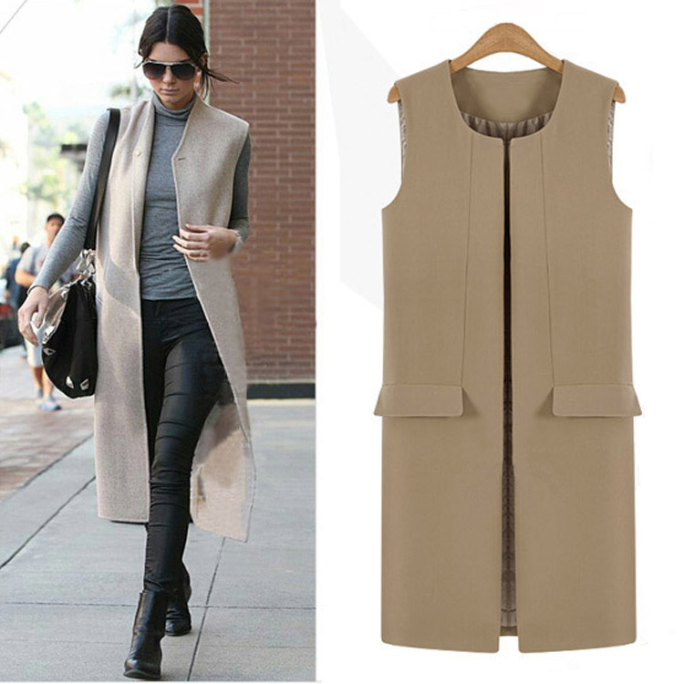 2017 Classic Long Design Black Beige Workwear Vest for Women, Ladies Sleeveless Jacket casaco feminino sem botão