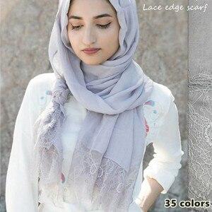Image 1 - 30 色の女性無地レーススカーフヒジャーブ綿ビスコースショールイスラム教徒固体スカーフ女性マフラー高級スカーフ 10 ピース/ロット