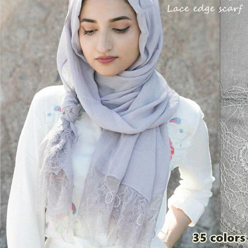 30 Colors Woman Plain Lace Scarf Hijab Cotton Viscose Shawl Muslim Solid Scarfs Lady Muffler Luxury Foulard 10pcs/lot