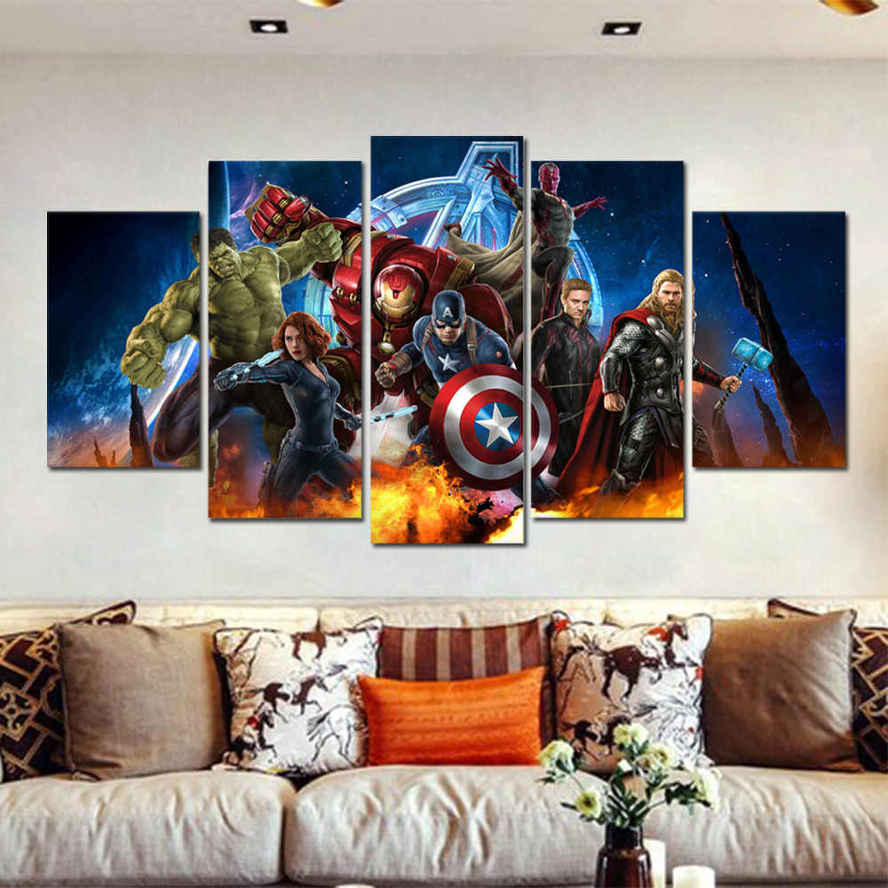 The Avengers Wall Decor Posters And Prints Wall Pictures For Living Room  Wall Art Decoration Marvel Canvas Painting