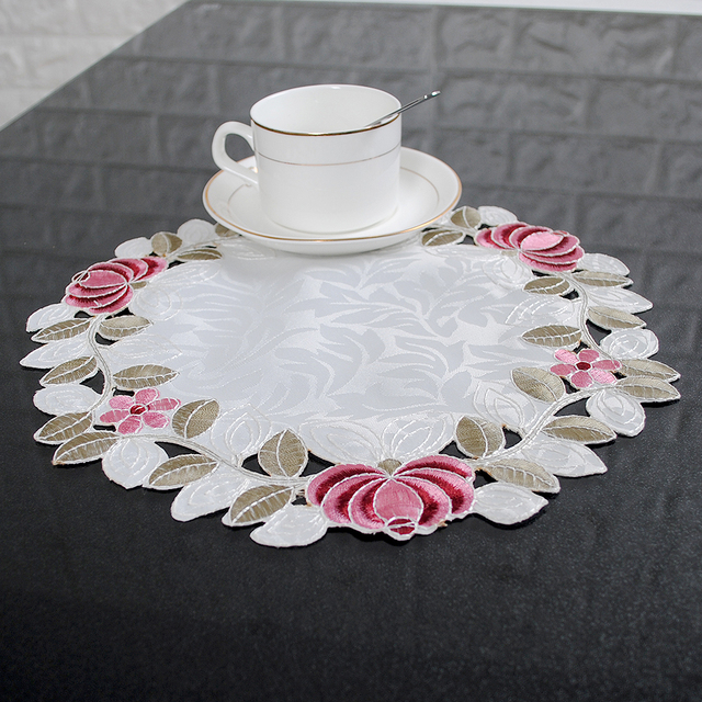 yazi embroidered floral cutwork table placemats fabric round table doily cover mats wedding party dining decoration