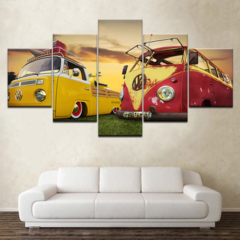 Artwork Modern Home Wall Art Decor Framed Picture HD Prints 5 Pieces Classic Retro Bus Car Truck Painting On Canvas Poster Mural modern artwork top rated canvas print painting 5 pieces anime one piece artistic poster logo picture wall art home decorative
