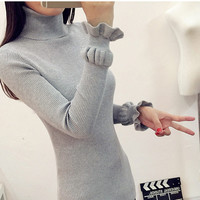 2017 Korean Autumn Winter Knitted Sweaters For Woman Pull Femme Slim Comfortable Turtleneck Long Sleeve Sueter