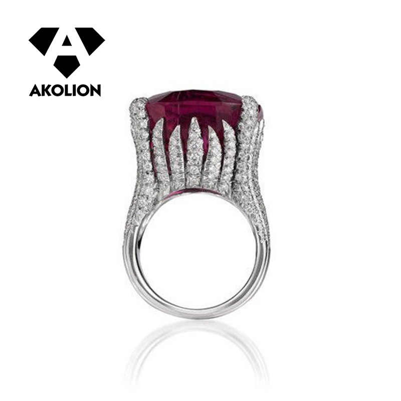 AKOLION European And American Luxury Mosaic Square New Fashion Rings Vintage Women Accessories Gifts For Women And Girl 2019