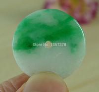 FREE SHIPPING>>>@ N2759 Certified Green Jade Circle Round Hoop Donut Natural A Jadeite Pendant