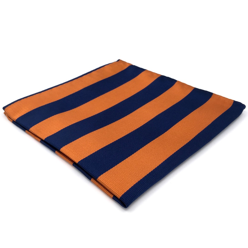 EH27 Blue Orange Striped Pocket Square For Men Handkerchief Classic Hanky