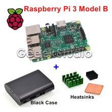 Best price Raspberry Pi 3 Model B 1.2GHz 1GB RAM WiFi & Bluetooth + Aluminum & Copper Heatsinks + ABS Black Case