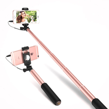 Aluminum Selfie Stick with Mirror Portable Monopod Wired Stretchable Selfie Stick For Smart Phone